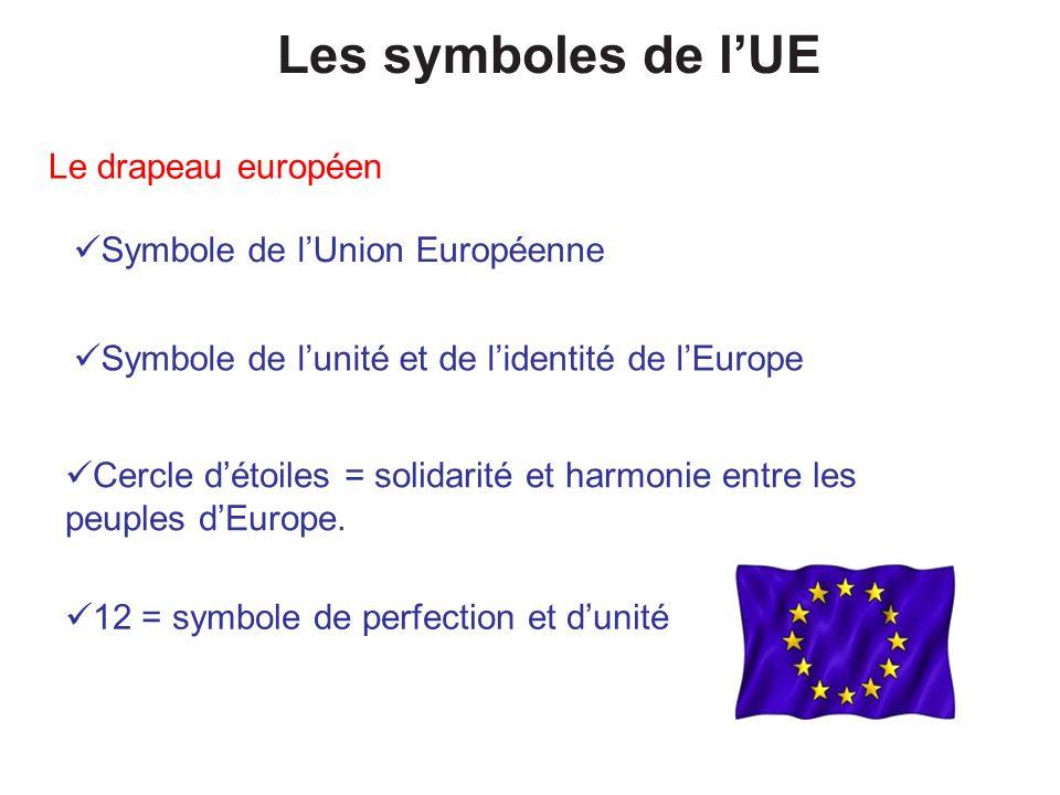 Les symboles de l'UE Le drapeau européen Symbole de l'Union Européenne