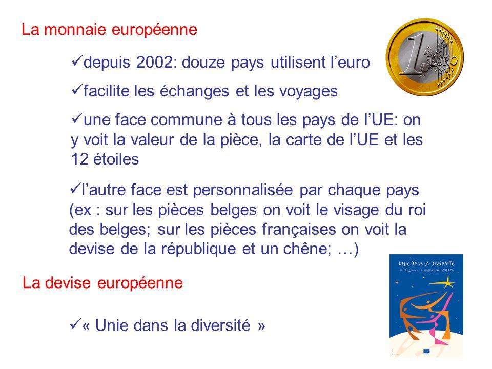 La monnaie européenne depuis 2002: douze pays utilisent l'euro. facilite les échanges et les voyages.