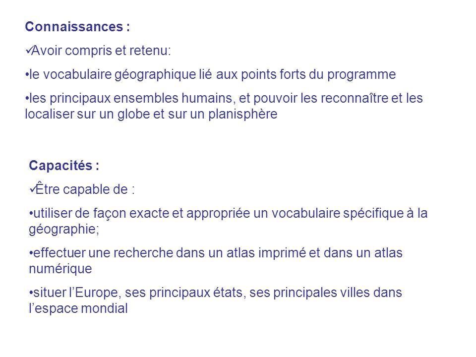 Connaissances : Avoir compris et retenu: le vocabulaire géographique lié aux points forts du programme.