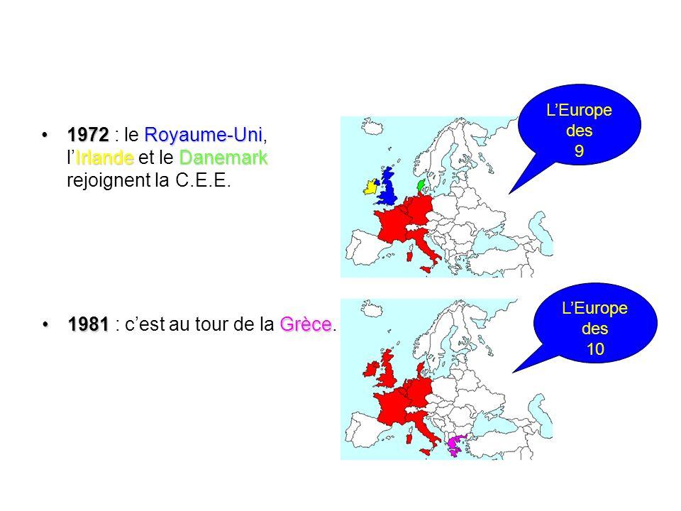 1972 : le Royaume-Uni, l'Irlande et le Danemark rejoignent la C.E.E.