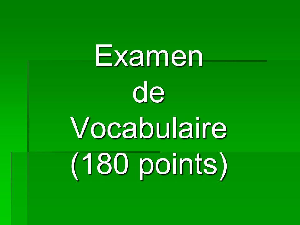 Examen de Vocabulaire (180 points)