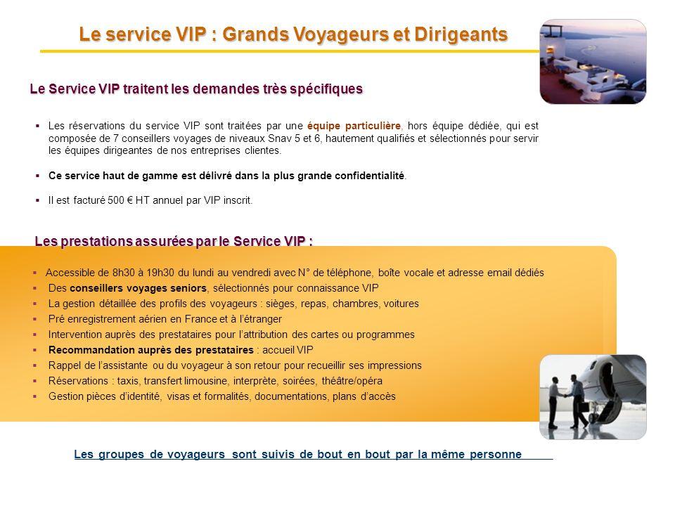 Le service VIP : Grands Voyageurs et Dirigeants