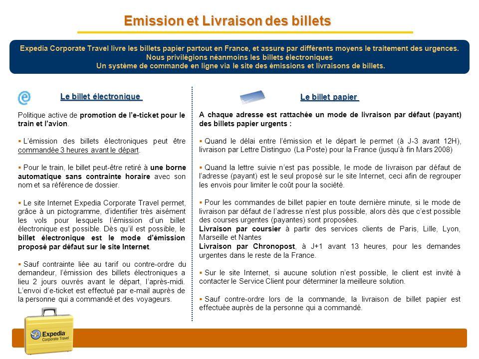 Emission et Livraison des billets