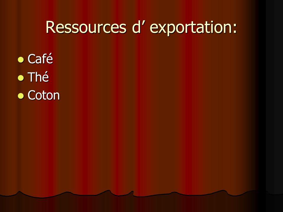 Ressources d' exportation: