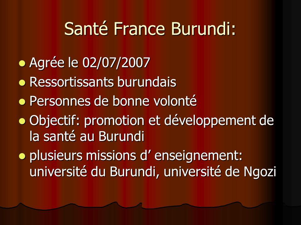 Santé France Burundi: Agrée le 02/07/2007 Ressortissants burundais