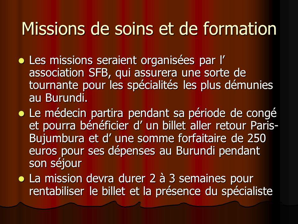 Missions de soins et de formation