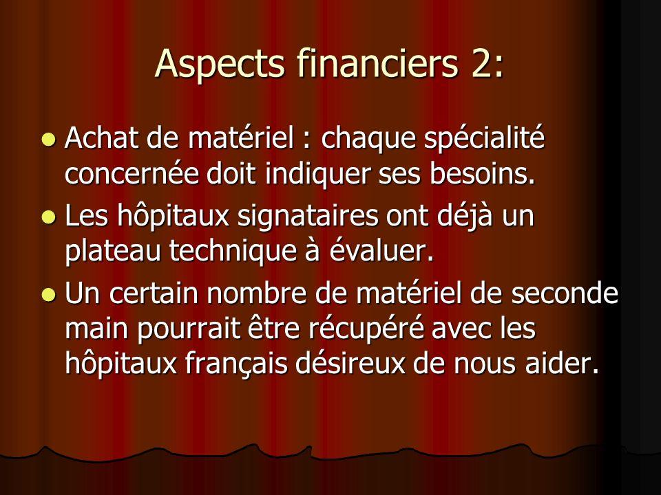 Aspects financiers 2: Achat de matériel : chaque spécialité concernée doit indiquer ses besoins.