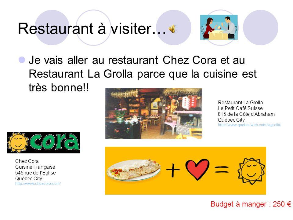 Restaurant à visiter… Je vais aller au restaurant Chez Cora et au Restaurant La Grolla parce que la cuisine est très bonne!!