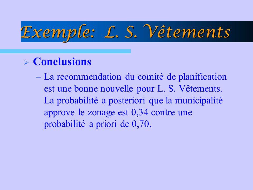 Exemple: L. S. Vêtements Conclusions