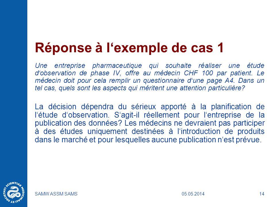 Réponse à l'exemple de cas 1