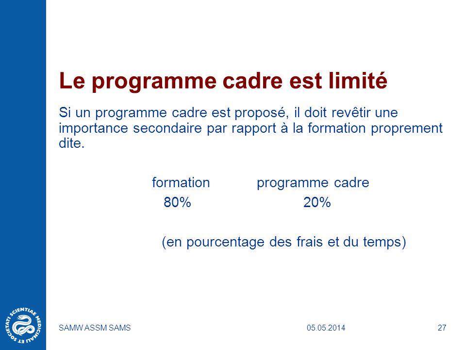 Le programme cadre est limité