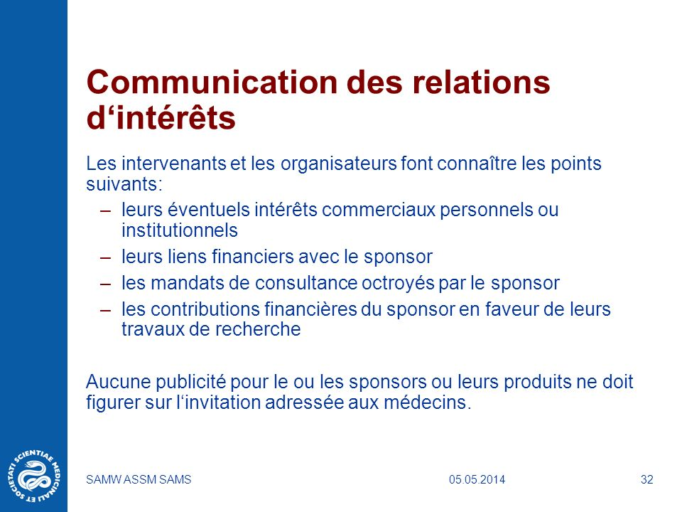 Communication des relations d'intérêts