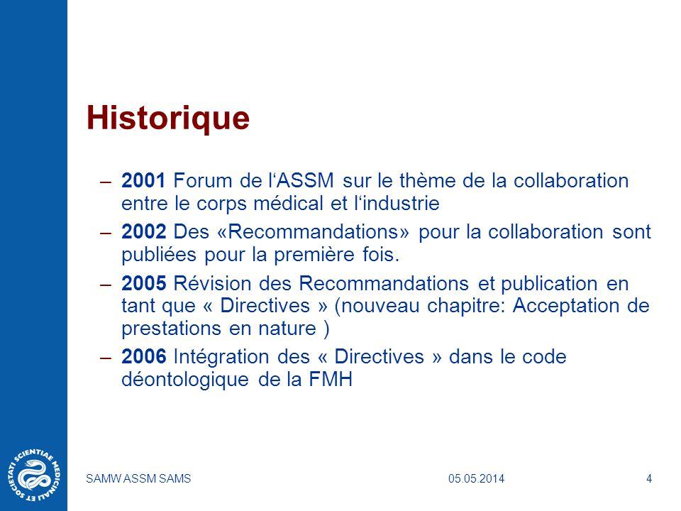 Historique 2001 Forum de l'ASSM sur le thème de la collaboration entre le corps médical et l'industrie.