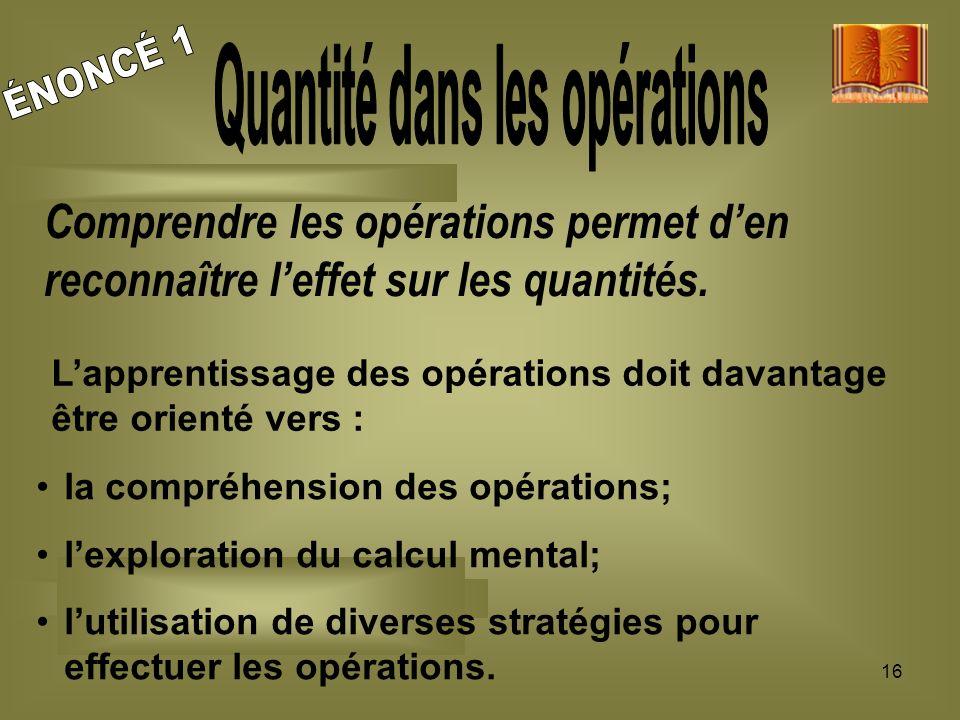 Quantité dans les opérations