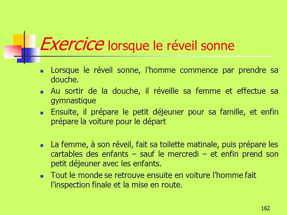Exercice lorsque le réveil sonne