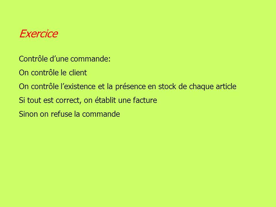 Exercice Contrôle d'une commande: On contrôle le client