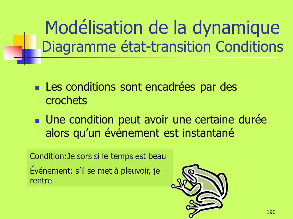 Modélisation de la dynamique Diagramme état-transition Conditions