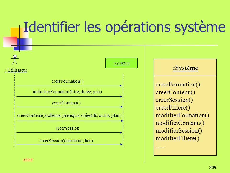 Identifier les opérations système
