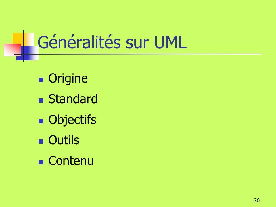 Généralités sur UML Origine Standard Objectifs Outils Contenu .