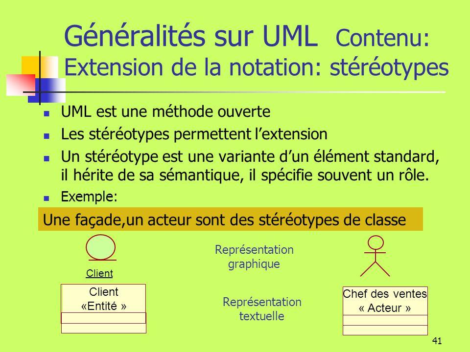 Généralités sur UML Contenu: Extension de la notation: stéréotypes