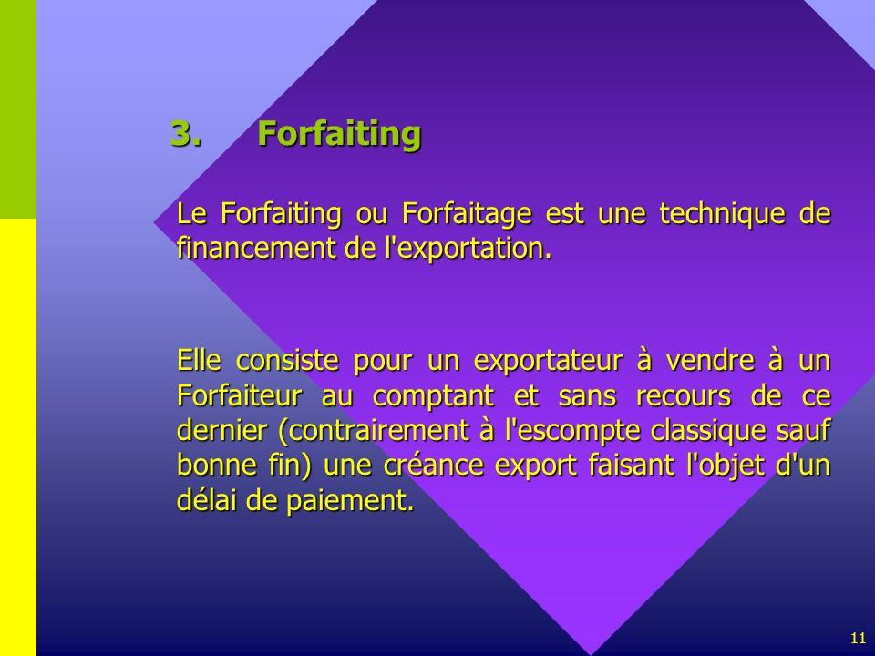 3. Forfaiting Le Forfaiting ou Forfaitage est une technique de financement de l exportation.