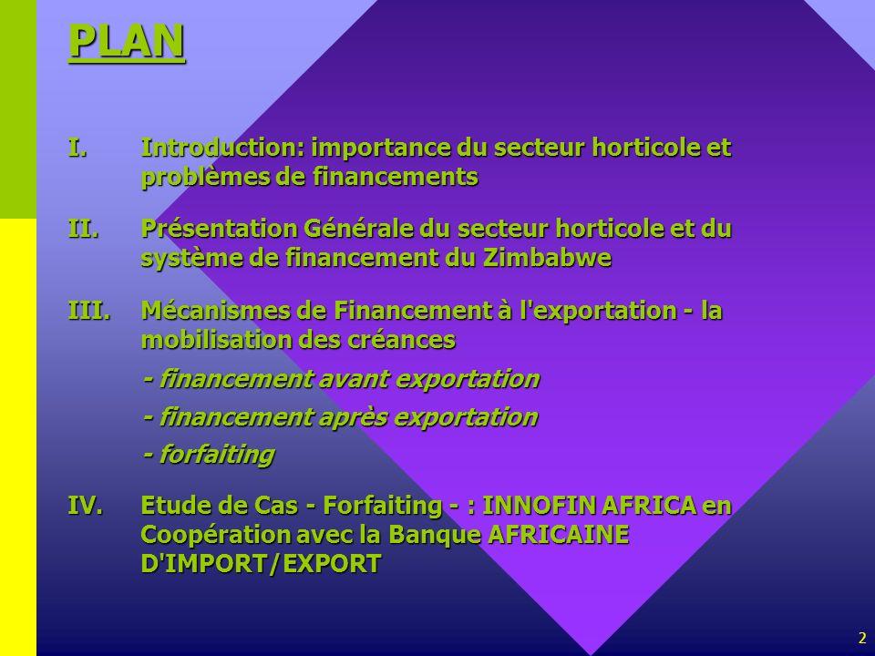PLAN I. Introduction: importance du secteur horticole et problèmes de financements.