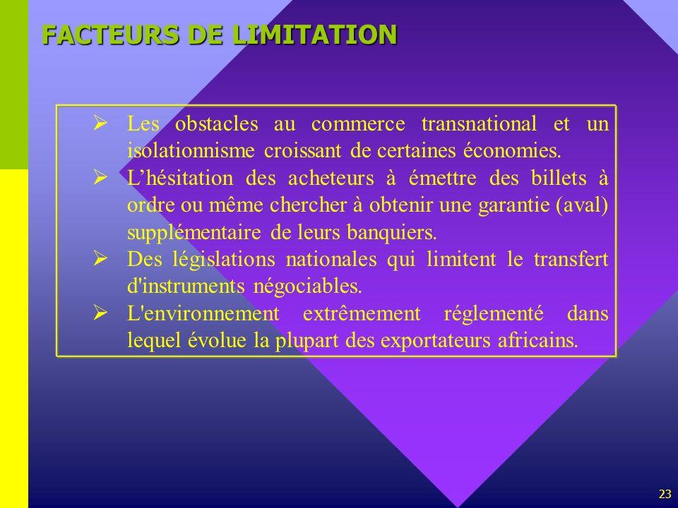 FACTEURS DE LIMITATION