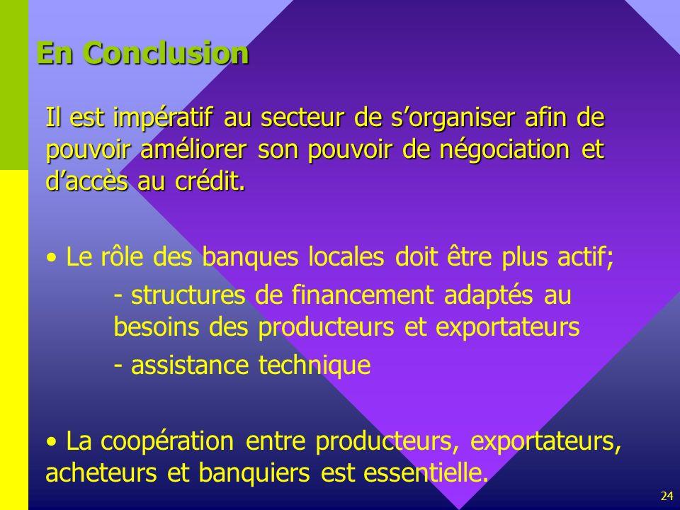 En ConclusionIl est impératif au secteur de s'organiser afin de pouvoir améliorer son pouvoir de négociation et d'accès au crédit.