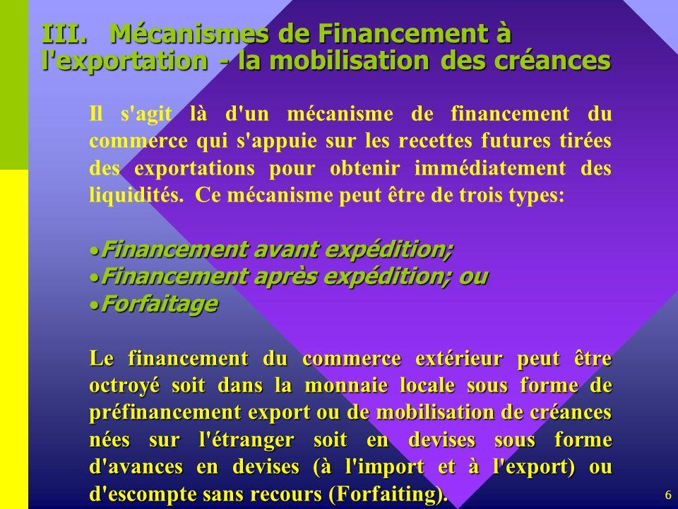 III. Mécanismes de Financement à l exportation - la mobilisation des créances