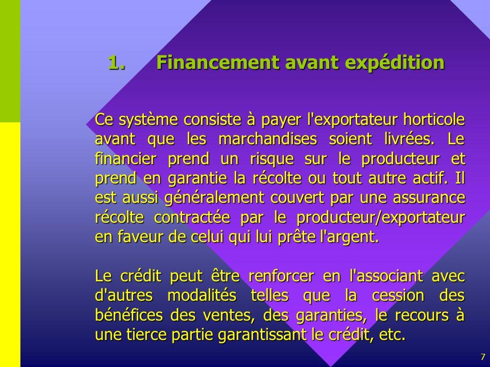1. Financement avant expédition