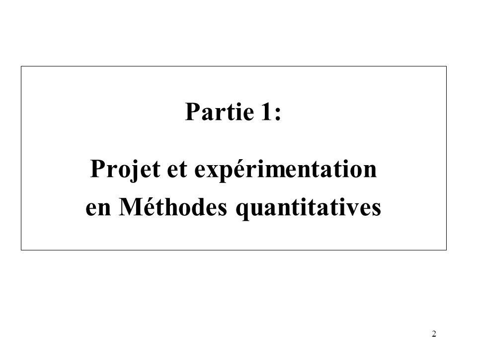 Partie 1: Projet et expérimentation en Méthodes quantitatives