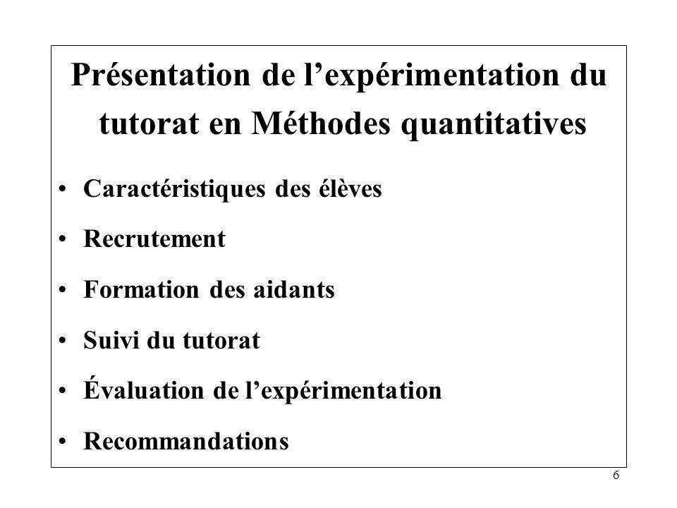 Présentation de l'expérimentation du tutorat en Méthodes quantitatives