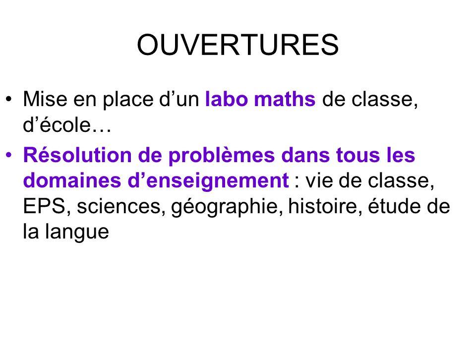 OUVERTURES Mise en place d'un labo maths de classe, d'école…