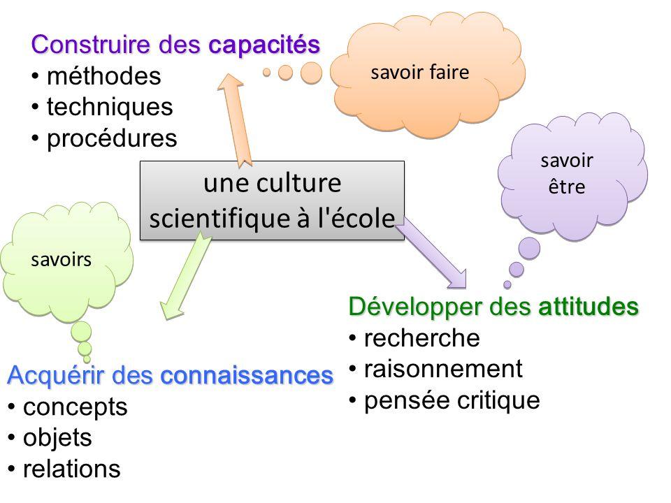 une culture scientifique à l école Construire des capacités méthodes