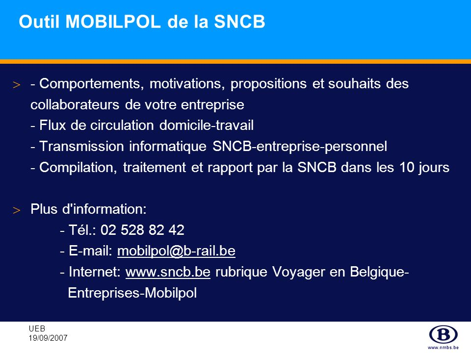 Outil MOBILPOL de la SNCB