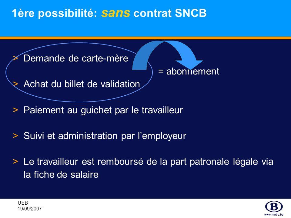 1ère possibilité: sans contrat SNCB