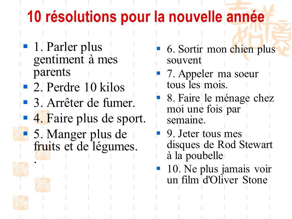 10 résolutions pour la nouvelle année