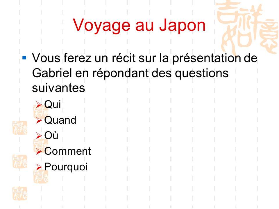 Voyage au Japon Vous ferez un récit sur la présentation de Gabriel en répondant des questions suivantes.