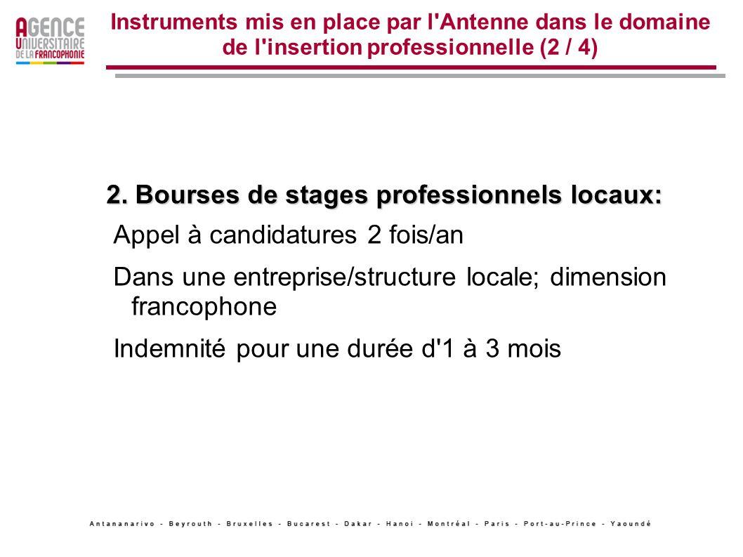 2. Bourses de stages professionnels locaux: