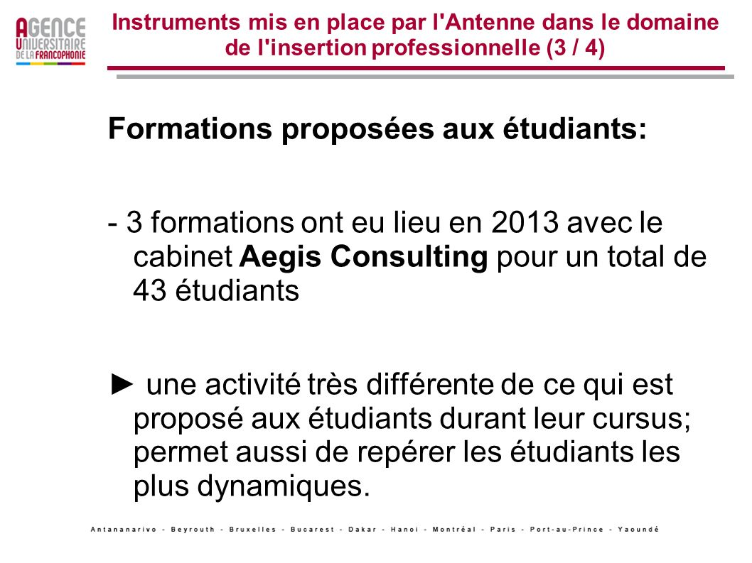 Formations proposées aux étudiants: