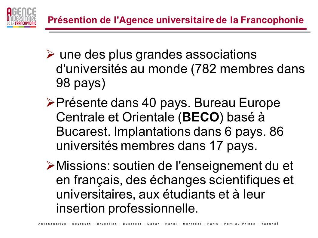 Présention de l Agence universitaire de la Francophonie