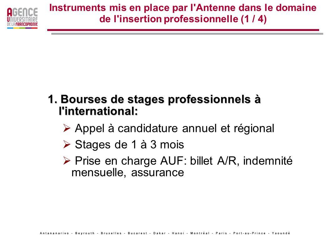 1. Bourses de stages professionnels à l international: