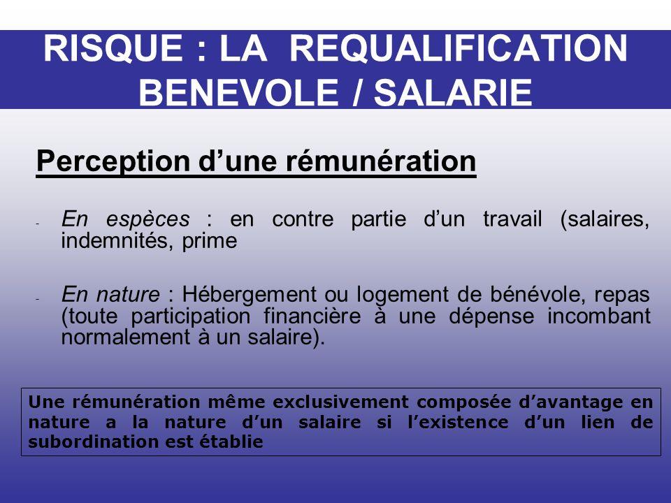 RISQUE : LA REQUALIFICATION BENEVOLE / SALARIE