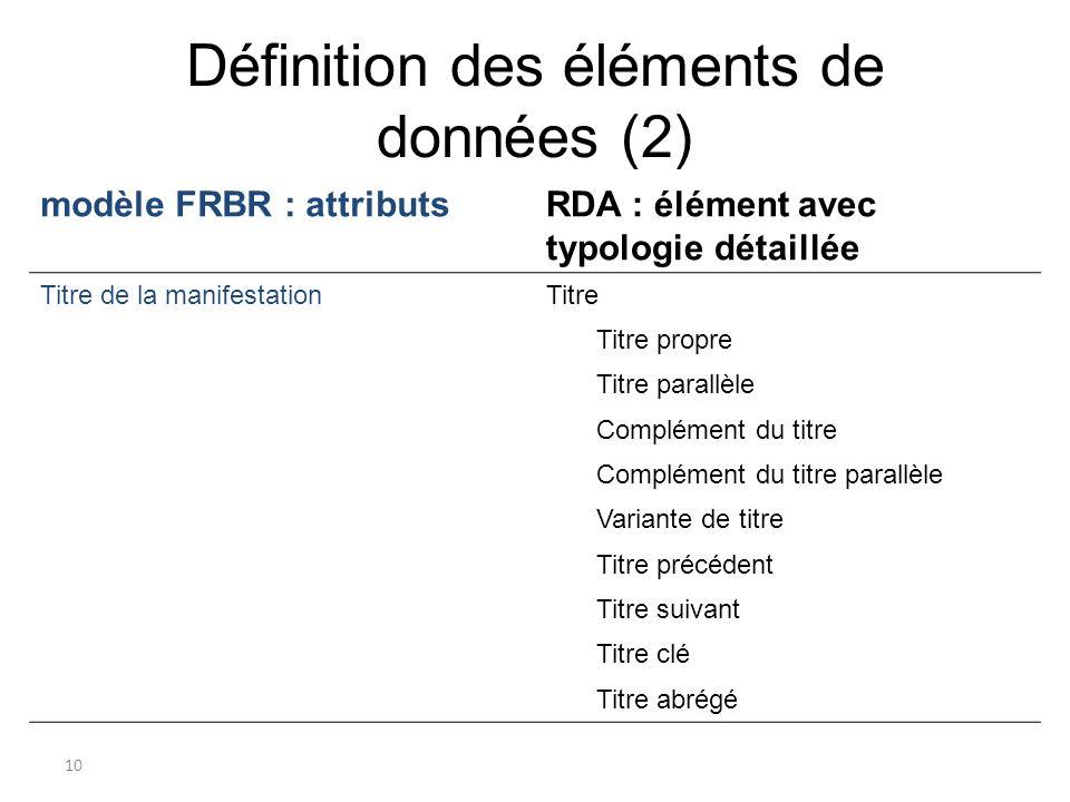 Définition des éléments de données (2)