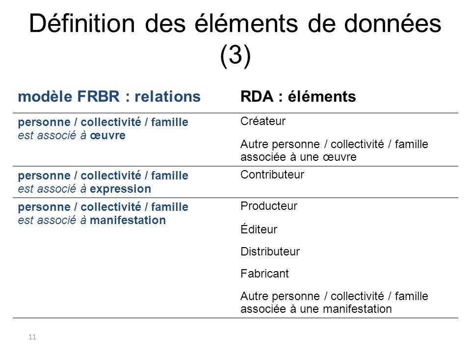 Définition des éléments de données (3)