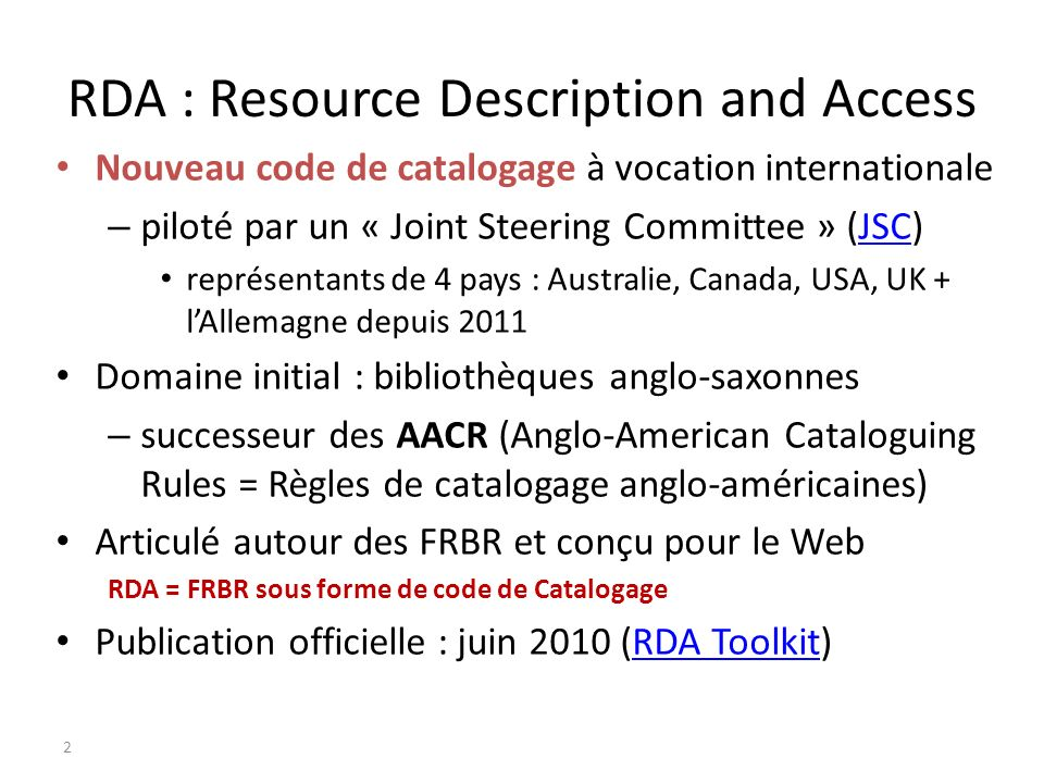RDA : Resource Description and Access