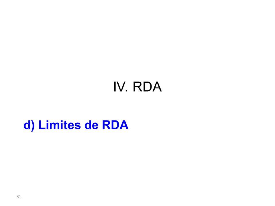 IV. RDA d) Limites de RDA 31