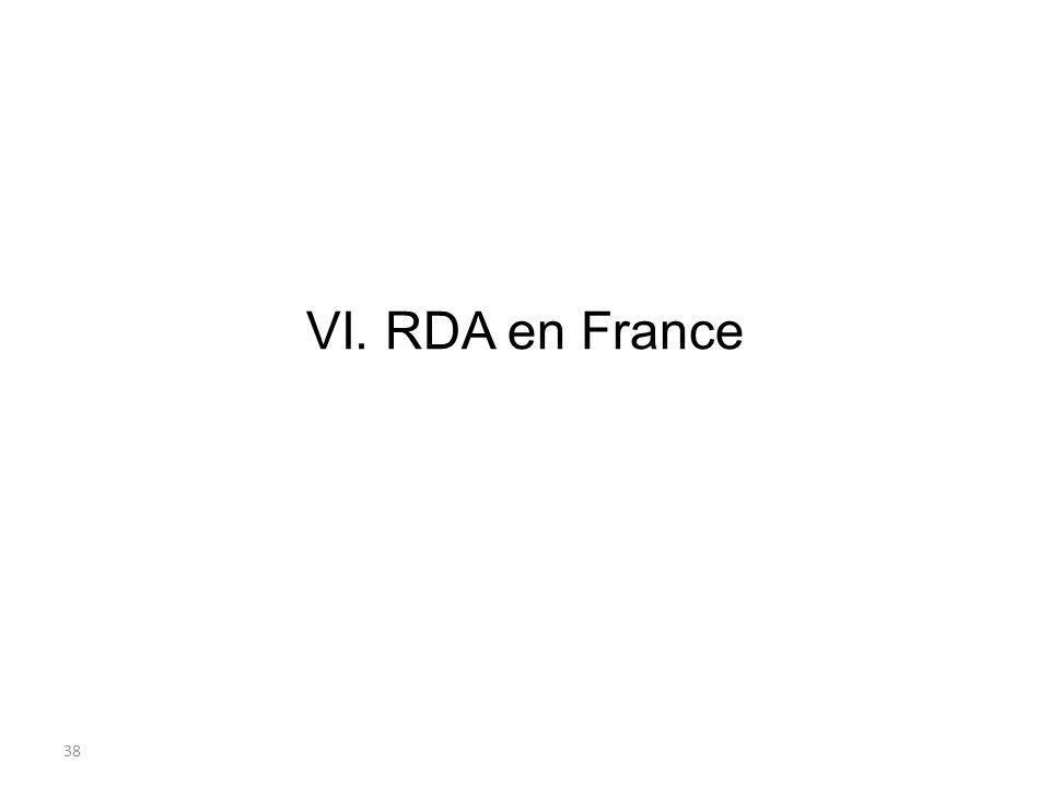VI. RDA en France 38