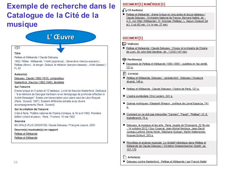 Exemple de recherche dans le Catalogue de la Cité de la musique