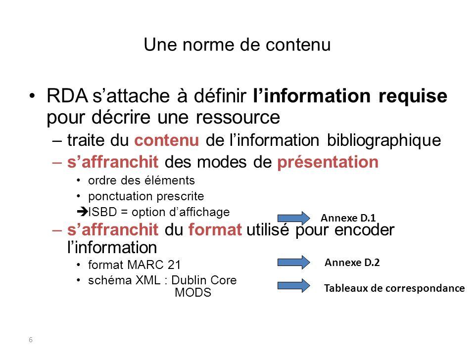 Une norme de contenu RDA s'attache à définir l'information requise pour décrire une ressource. traite du contenu de l'information bibliographique.